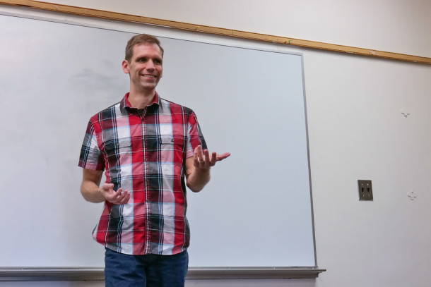 Derek leading a public speaking workshop